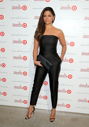 Camila Alves oozed effortless chic in a strapless black jumpsuit by Camilla and Marc at the Annie for Target launch.