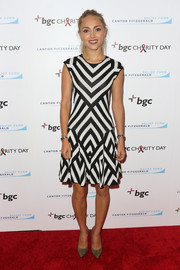 AnnaSophia Robb donned a black-and-white geometric-print dress for the Cantor Fitzgerald Charity Day event.