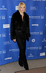 Ellen donned a black fur jacket with sleek slacks for the Sundance Film Festival.