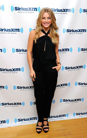 Julianne Hough chose skinny slack to pair with a black halter for a sleek and modern look at the SiriusXM studios in NYC.