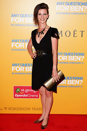 Felicity Ward wore a darling black dress with statement accessories for the 'Any Questions for Ben' premiere.