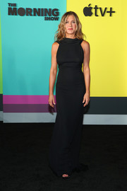 Jennifer Aniston kept it minimal yet elegant in a vintage black James Galanos gown with a draped neckline at the world premiere of Apple TV+'s 'The Morning Show.'