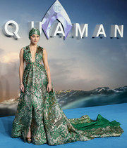 Amber Heard dropped jaws in a voluminous green and gold brocade gown by Valentino Couture at the world premiere of 'Aquaman.'