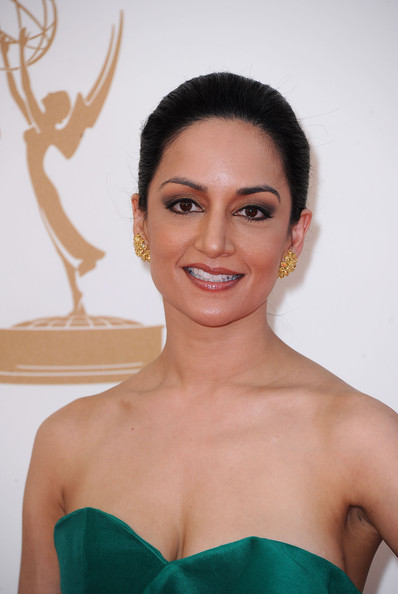 Archie Panjabi Diamond Studs [hair,face,eyebrow,skin,hairstyle,beauty,shoulder,forehead,chin,lip,arrivals,archie panjabi,primetime emmy awards,california,los angeles,nokia theatre l.a. live,annual primetime emmy awards]