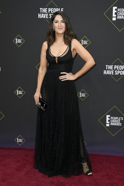 D'Arcy Carden Studded Clutch [dress,clothing,red carpet,carpet,shoulder,gown,a-line,flooring,fashion,premiere,darcy carden,peoples choice awards,santa monica,california,barker hangar,e]