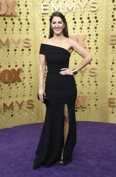 D'Arcy Carden Off-the-Shoulder Dress [clothing,dress,shoulder,red carpet,carpet,fashion,gown,strapless dress,flooring,fashion model,arrivals,darcy carden,emmy awards,microsoft theater,los angeles,california]