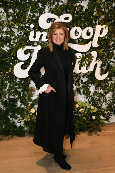 Arianna Huffington Wool Coat [clothing,outerwear,costume,headgear,hat,formal wear,fashion accessory,smile,style,arianna huffington,new york,seaport district nyc,health summit,in goop health summit]