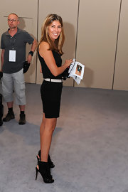 Nina Garcia looked edgy-chic in a  pair of strappy black ankle boots during Mercedes-Benz Fashion Week.