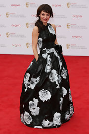 Helen McCrory chose this elegant bold floral-print dress for her vibrant and eye-catching red carpet look.