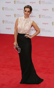 Louise Redknapp chose a romantic red carpet look when she sported this nude lace denim top with a lace skirt.