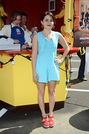Mae Whitman looked lovely in this blue and white polka dot frock.