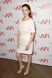 Anna Kenrick looked darling at the AFI Awards in an Honor tweed cropped jacket in white with flecks of pink.