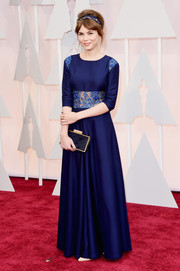 Agata Trzebuchowska chose a royal-blue gown with an embellished midriff and shoulders for her Oscars look.