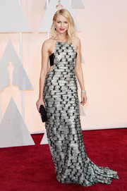 Naomi Watts was sexy-trendy at the Oscars in a silver and black cutout gown by Armani Prive.