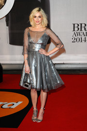 Fearne Cotton chose a pair of silver satin ankle-strap sandals to pair with her gorgeous dress.
