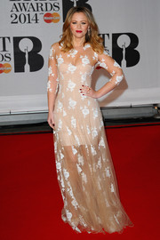 Kimberley Walsh was sweet and sexy at the same time in a floral-embroidered nude sheer-overlay gown by Blumarine during the Brit Awards.