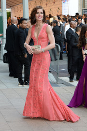 Hilary Rhoda was a style standout at the CFDA Fashion Awards in a pink J. Mendel lace gown with a down-to-there plunge.