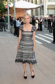Tory Burch looked oh-so-sweet in a black-and-white lace dress during the CFDA Fashion Awards.