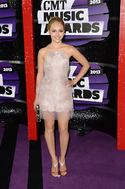 AnnaSophia Robb sparkled at the CMT Music Awards where she wore this blush pink shimmery halter frock.