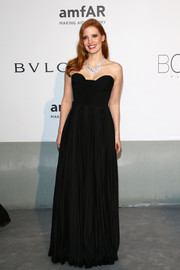 Jessica Chastain went for classic glamour in a black strapless gown by Givenchy during the Cinema Against AIDS Gala.