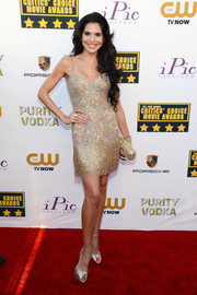 Joyce Giraud went for sexy glamour in a beaded gold mini dress during the Critics' Choice Awards.