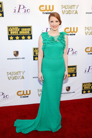Jessica Chastain looked very feminine at the Critics' Choice Awards in a green Nina Ricci gown with a ruffled neckline.