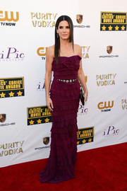 Sandra Bullock chose an ultra-feminine plum-colored Lanvin strapless gown, featuring tiers of ruffles from top to bottom, for the Critics' Choice Awards.