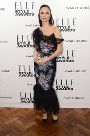 Georgina Chapman donned a deconstructed-chic floral mermaid gown by Marchesa for the Elle Style Awards.