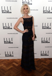Portia Freeman donned a sophisticated black lace dress for the Elle Style Awards.