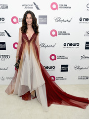 Andie MacDowell exuded a boho-queen vibe in a flowy tricolor gown by Leanne Marshall during Elton John's Oscar-viewing party.