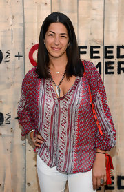 Rebecca Minkoff showed her breezier side with this loose print blouse when she attended the Feed USA + Target launch.