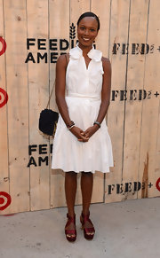 Shala Monroque looked fetching in this ultra-girly white ruffle dress at the Feed USA + Target launch.