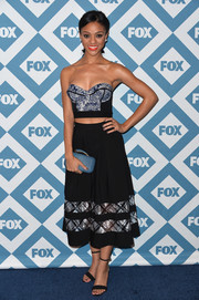 Tiffany Boone showed off her assets in a sexy strapless and cropped corset top during the Fox All-Star party.
