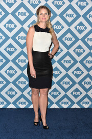 Joelle Carter opted for a simple monochrome sheath when she attended the Fox All-Star party.