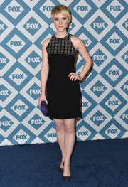 Valorie Curry chose an LBD with an embellished neckline for the Fox All-Star party.