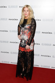 Ellie Goulding chose a dress fit for a rocker when she wore this long-sleeve lace frock.