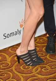 Rebecca Minkoff attended the Life is Love Gala wearing a pair of modern black cutout pumps.