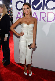 Jessica Alba looked white-hot in a zipper-front strapless dress by Jason Wu at the People's Choice Awards.