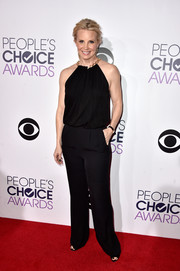 Monica Potter worked the jumpsuit trend on the People's Choice Awards red carpet with this chain-neckline black number by Diane von Furstenberg.