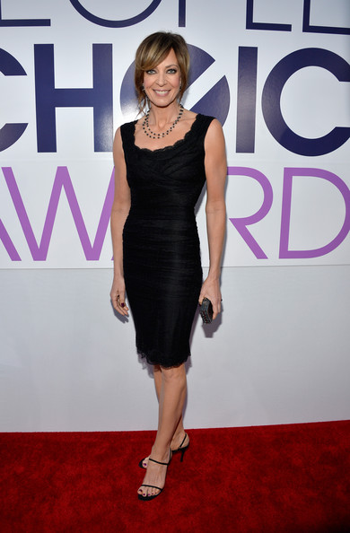 Allison Janney kept it simple yet elegant all the way down to her black evening sandals.