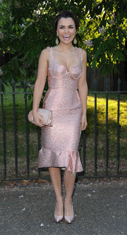 Samantha Barks looked sweet and sexy at once in a pink jacquard corset dress with a peplum hem during the Serpentine Gallery Summer Party.