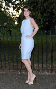 Princess Eugenie kept it minimal yet stylish in a sleeveless pastel-blue Burberry dress during the Serpentine Gallery Summer Party.