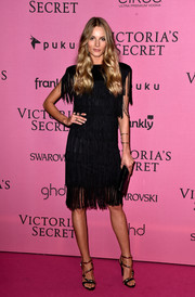 Ieva Laguna was flapper-chic in a fringed LBD at the Victoria's Secret fashion show after-party.
