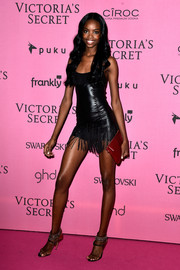Maria Borges rocked a barely-there leather LBD with a fringed hem at the Victoria's Secret fashion show after-party.