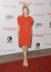 Candica Accola looked airy in a red Chloe shift dress with ruffle sleeves at the Women in Entertainment Breakfast.