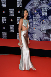 Chanel Iman made eyes pop with this super-slinky silver cutout gown by Reem Acra at the World Music Awards.