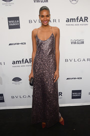 Arlenis Sosa glittered in a low-cut sequined gown during the amfAR New York Gala.