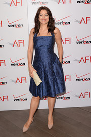 Bellamy Young was '50s-chic in a blue fit-and-flare halter dress during the AFI Awards.