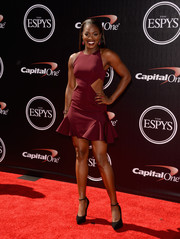 Sloane Stephens ravished in a burgundy ruffle-hem cutout dress at the 2014 ESPYs.