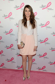 Sara Bareilles added some shine via a pair of silver Jimmy Choo pumps.